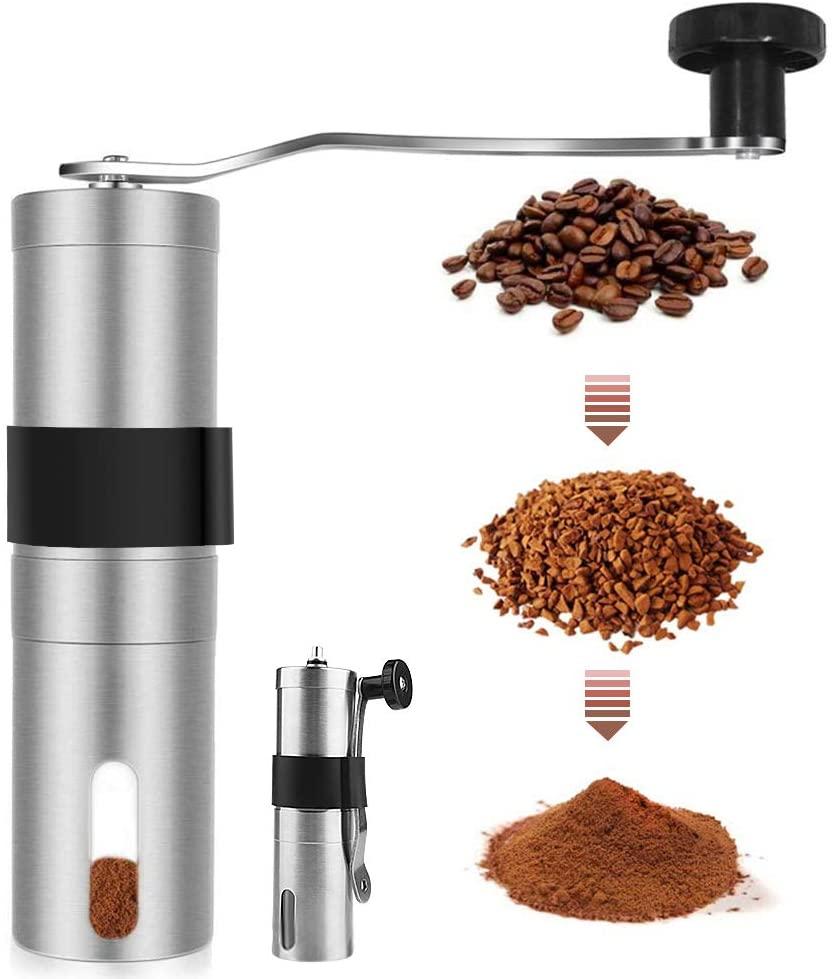 AVNICUD Manual Coffee Grinder, Ceramic Burr Coffee Grinder with Adjustable Setting