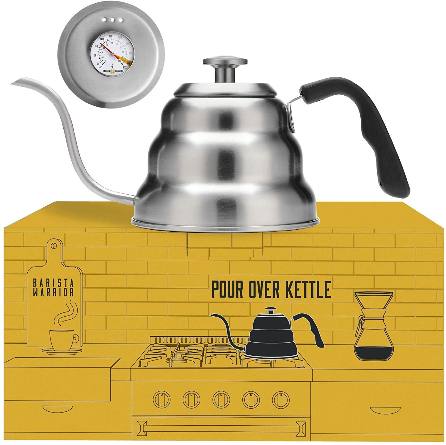 Pour Over Coffee Kettle with Thermometer for Exact Temperature