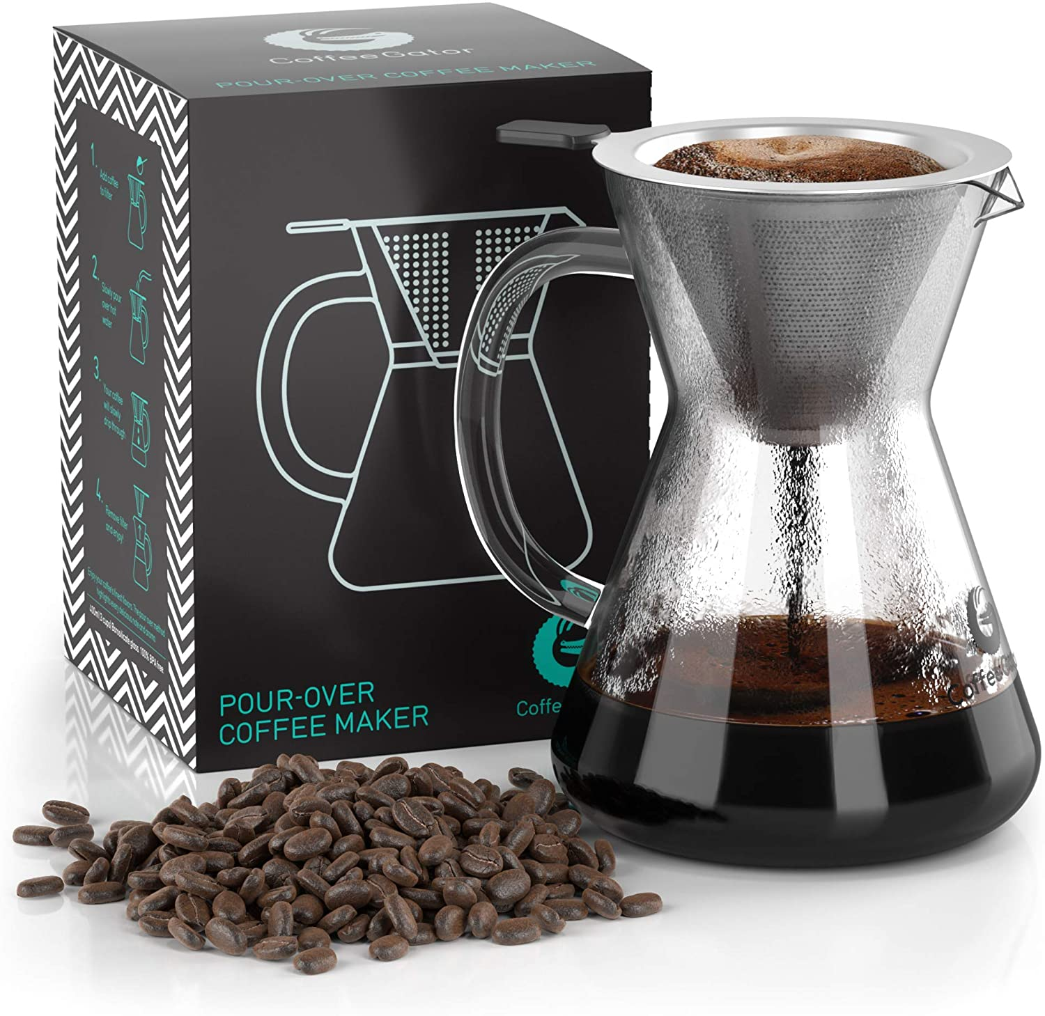 Pour Over Coffee Maker - Great Coffee Made Simple - 3 Cup Hand Drip Coffee Maker With Stainless Steel Filter